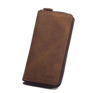 Pop2019 Genuine Leather Zipper Top Quality Men Wallets Large Capacity Long Men Purse Wallet Male Clutch Business Wallet Coin