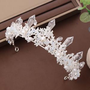 Kristal Simüle İnciler Prenses Kafa Çelenkler Taçlar Diadem Gelin Noiva Düğün Takı Shining FORSEVEN Sıcak Satış