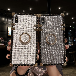 Custodia bling diamante glitter lusso donna per iPhone 6 s 7 8 Plus XS XR XSMAX Samsung S8 S9 S10 plus note9 Bauletto portafortuna Hard Coque Fundas