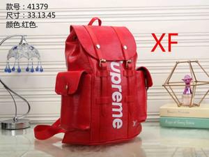 Envío gratis !!! 2020 clásico de lujo deportiva de diseño de alta calidad de la marca mujeres de los hombres de cuero mochila # 16 Red carta