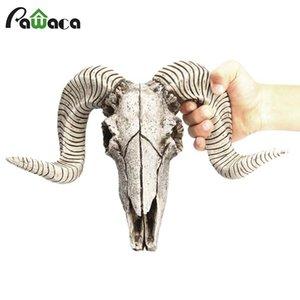 Creative Resin Sheep Head Skull Head Wall Hanging 3D Animal Longhorn Sculpture Figurines Crafts Horns Home Decor Ornaments T200703