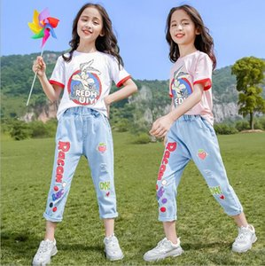 New best selling girls' summer suit summer big kids' cartoon T-shirt and jeans two piece fashion factory size 110-150cm