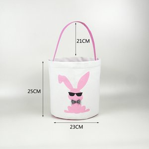 15styles Easter Basket Easter Bunny Storage Bags Egg Candy Baskets Bucket Canvas Sequin Handbags Printed Tote Easter Rabbit Bags GGA3189-4