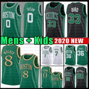 Kemba Walker Jayson 8 0 Tatum Baloncesto Jersey de los hombres; s Larry Bird Juvenil 33 Jaylen Brown Marcus Smart Hayward Boston