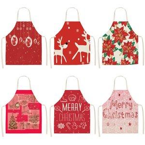 Kırmızı Noel Önlük Pamuk Keten Pinafore Yılbaşı Dekoru kolye Yetişkin Bibs 53 * 65cm Ev Mutfak Pişirme Aksesuarları