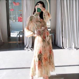 2020 nuove fasce lungo manica colletto alla coreana primavera reale stile lanterna delle donne di disegno della stampa sottile vita maxi vestito chiffon lungo floreale