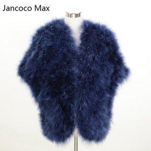 Jancoco Max Fashion Style Nouveau Les vraies femmes plume d'autruche fourrure Poncho Or Lady Turquie Fur Châle en gros / au détail S1244
