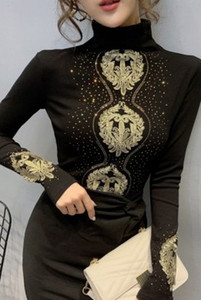 New Arrival Hot Sale Special Fashion Korean Version Long-Sleeved Female Blouse Fairy Gold Thread Lace Black Turtleneck Tide Shirt