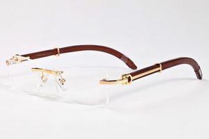 Luxus-Markendesigner randlos Sonnenbrillen für Männer-Mode Holz Bambus retro Büffelhornbrille braun schwarz klare Glaslinse Sonnenbrille