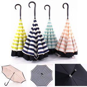 Creative-Double-Layer-Rohseide-Streifen-Reverse-Regenschirm-gerades Stiel Umbrella C-Typ Sonnenschutz Tragbare Regenschirme DH0882