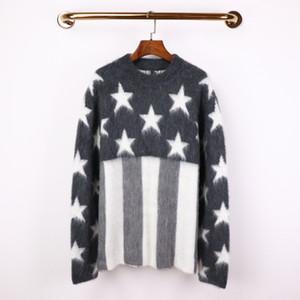Hiver Femmes Mode Mohair Laines Pull gris Amérique Drapeau américain Knit Chemise Pull confortable en vrac