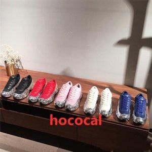 hococal 2019 Erkek Büyük Boy Sneaker, Gümüş sıvı tasarım sneaker daldırma etkisi Sole Spor Eğitmeni Çok renkli With Kutu Boyutu 38-45