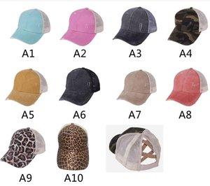 Ponytail Baseball Caps Gliter Messy Bun Unisex Summer Washed Cotton Hats Snapbacks Leopard Cap Outdoor Sun Visor Hat Party Street Cap LSK159