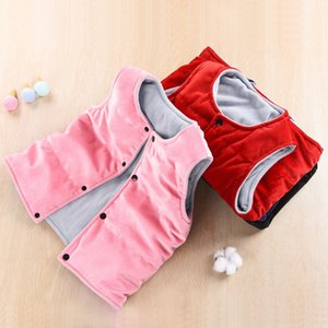 Children's male and female children's double-sided vest plush thickened down cotton vest baby wear waistcoat and waistcoat outside