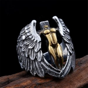 Punk Men's Ring Retro Angel Wings Cross Signet Rings for Men Vintage Goddess of Justice Anel Anillos Viking Jewelry Gift