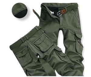 Autumn and winter men's clothing plus velvet thick multi-pocket overalls casual pants men's outdoor loose trousers men's tide army pants
