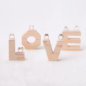 [DDisplay] Creative LOVE Wood Rings Présentoir à bijoux Collection de bijoux en bois massif Présentoir à bijoux Log Journal Velvet Couple Ring Display