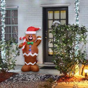 1.5M 풍선 크리스마스 산타 클로스 진저 브레드 스노우 맨 LED 장식 홈 야외의 사탕 지팡이 장식을 잡고