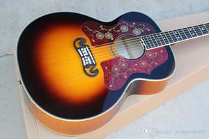 Guitarra acústica de tabaco de 43 '' com braço Ebnoy, pentagrama embutido, folheado bege chama, oferecendo serviços personalizados