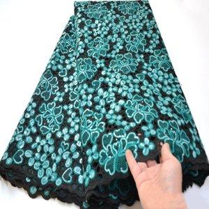 Красивый черный чирок большой шнурок handcut органза кружева ткани с блесток Африканский французский кружевной ткани блестящие швейцарский mv308