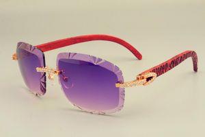 2019 new Hot-vente lentille lunettes de soleil 8300075 en bois sculpture bras trop lunettes, de luxe diamant Unisexe parasol miroir, peut être sculpté nom
