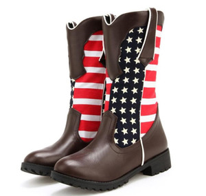 size 33 to 42 to 46 black brown stars and stripes mid calf boots designer booties designer shoes