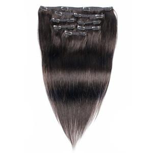 Clipe Hetero brazlian no Cabelo Cor extensões naturais 7 peças por conjunto 100g 110g não transformados Human Remy cabelo Extensões de cabelo humano