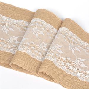 Casamento europeu de Natal Juta Serapilheira Hessian White Lace Table Runner Decoração de Mesa de Toalha de Mesa Toalhas de Mesa Linhas de 30X275 CM