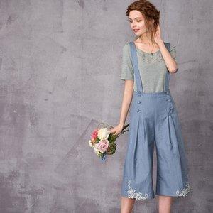 ARTKA 2018 Summer& Summer Lace embroidery strap Floral Tallie Denim Vintage Wide Leg Short Pants