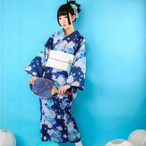 Japon Standard kimono bornoz takımları geleneksel yaz kurban Elbise Lady Keten resmi modifiye sürümün kimono Bej Mavi