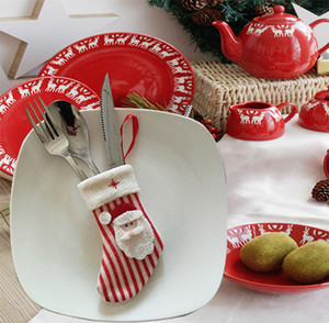 3 Home Party Christmas Knife Decoration Santa Kitchen Cutlery Christmas Pocket Pcs Fork Claus Sack Table Holder Bags Tableware Hogpo