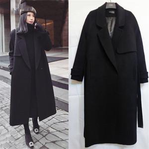 봄 가을 겨울 새로운 여성 캐주얼 양모 블렌드 트렌치 코트 벨트 여성 양모 캐시미어 겉옷과 대형 코트
