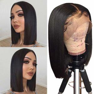 13x4 الشعر الجبهة الرباط الباروكات الإنسان بوب 130 كثافة الشعر العذراء البرازيلي الإنسان قصيرة بوب الباروكات مستقيم لون الشعر الطبيعي