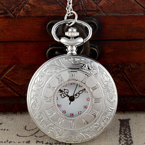 Hollow Roman Numbers Silver Color Theme Full Hunter Quartz Engraved Fob Retro Pendant Pocket Watch Chain Gift