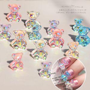 6pcs / lot 3D Cute orso Resina arte del chiodo decorazioni di strass Aurora per le unghie Jelly Glitter Ornamenti fai da te gel UV del manicure Accessori