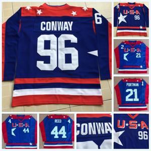 96 Charlie Conway Les Mighty Ducks Équipes de cinéma D2 Les maillots de hockey américain 21 Dean Portman 44 Le maillot Fulton Reed Logos de broderie cousus bleus