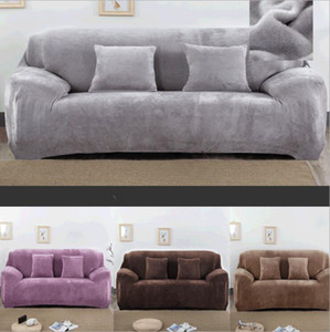 Solid Color Plush soft Thicken Elastic Sofa Cover Universal Sectional Slipcover 1 seater winter Stretch Couch Cover for Living Room