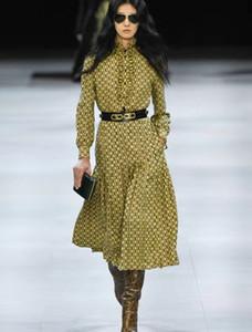 NEW Дизайнер Luxury Женщины Runway Платья с длинным рукавом Стенд Воротник Printed платье с поясом высокого качества Midi Long Milan Подиум Платья A300