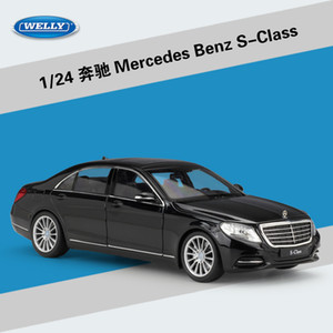 Yüksek Simülasyon Welly 1:24 Klasik Diecast Araç Benz S-class Metal Alaşım Model Araba Oyuncak Çocuk Hediye Oyuncak Araba Koleksiyonu J190525