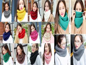 Sciarpa all'uncinetto a colori solido per le donne a maglia inverno o-ring sciarpe snood femmina calda morbida sciarpa infinito signore rosa anello rosso wra da068