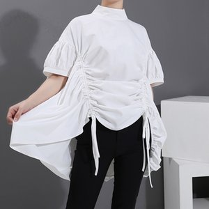 Oversize Top All-match Womens Drawstring Lace-up Loose Stand Collar Shirt Female Blouse5887