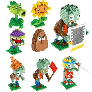 Mini Particles Plants VS Zombies Puzzle Building Blocks Toys Peashooter Wall Nut Sunflower Zombie Blocks Toys PVZ Figures Building Blocks