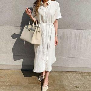 2020 Summer Women Shirt Dress Vintage Plus Size Loose Cardigan Short Sleeve Solid Linen Shirt Long Dresses Vestidos 9662