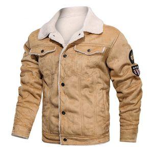 Hiver chaud Armée Tactique Veste Homme Pilot Bomber Flight Jacket Casual Male épais molleton de coton Manteau en laine Liner Suede
