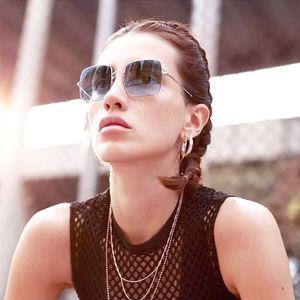 Kadınlar'S Büyük Boy Kare Aynalı Güneş Gözlüğü Marka Tasarımcı Güneş Vintage Kadınlar Man Moda Güneş Gözlükleri óculos De So Gafas 1971