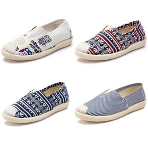 2020 no marca zapatos de las mujeres Zapatos Alpargatas deslizamiento en los planos de los zapatos de lona holgazanes ocasionales las zapatillas de deporte 35-40 Multiclticolors Estilo # 3211c