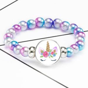 Children's cartoon Glass Cabochon unicorn bracelet cute animals Telescopic unicorn beads bracelets Lucky Horse jewelry drop ship