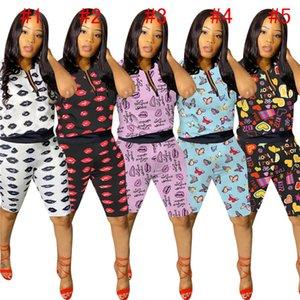 Femmes Lettres lèvres d'impression d'été Shorts Set Two Piece Set zipper T-shirt Shorts Sport Costume Survêtement de sport 5 couleurs D61507