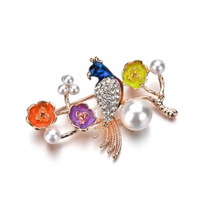 Nouveau Flying Bird broches Enamel Violet Fleurs Multi Bird Crystal Brooch broches femmes hommes costume costume corsage clips fille b73