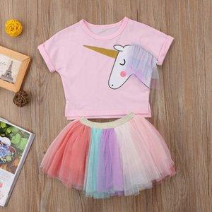 New Kids Baby Girl Unicorn Cartoon Cute Pink T-shirt Top Tutu Tulle Skirt Dress Outfits Set Summer